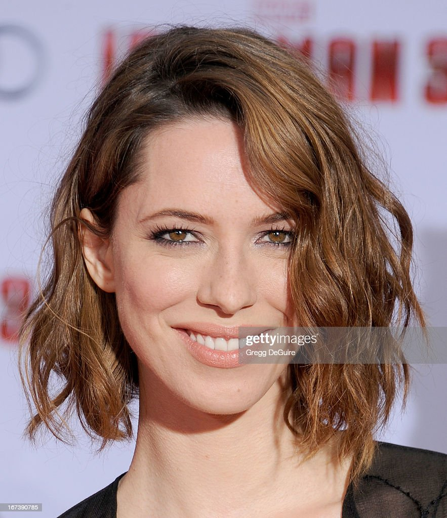 Actress Rebecca Hall arrives at the Los Angeles premiere of 'Iron Man 3' at the El Capitan Theatre on April 24, 2013 in Hollywood, California.