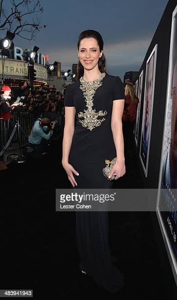 Actress Rebecca Hall attends the premiere of Warner Bros Pictures and Alcon Entertainment's 'Transcendence' at Regency Village Theatre on April 10...