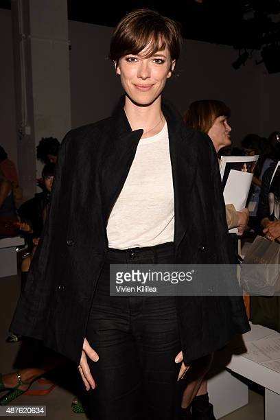 Actress Rebecca Hall attends the Tome fashion show during Spring 2016 New York Fashion Week The Shows at The Gallery Skylight at Clarkson Sq on...