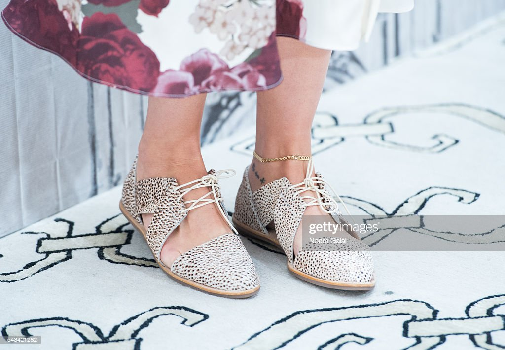 Actress Rebecca Hall, shoe detail, visits AOL Build to discuss 'The BFG' at AOL Studios In New York on June 28, 2016 in New York City.