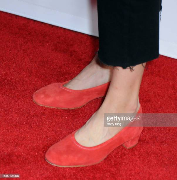 Actress Rebecca Henderson shoe detail attends the premiere of truTV's 'Im Sorry' at SilverScreen Theater at the Pacific Design Center on June 13 2017...