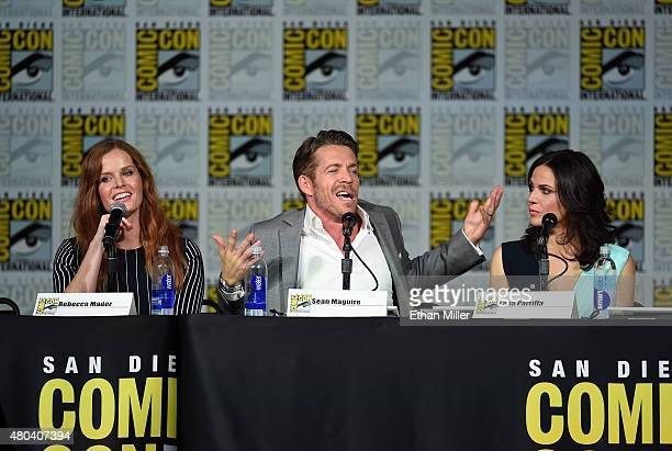 Actress Rebecca Mader actor Sean Maguire and actress Lana Parrilla attend the 'Once Upon a Time' panel during ComicCon International 2015 at the San...