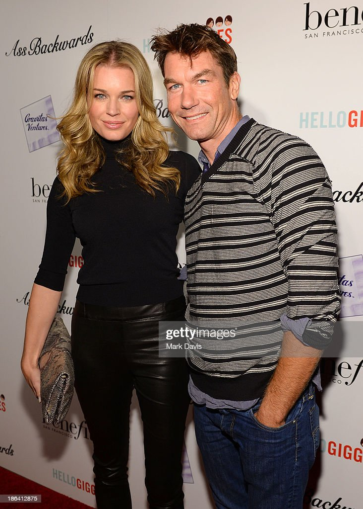 Actress <a gi-track='captionPersonalityLinkClicked' href=/galleries/search?phrase=Rebecca+Romijn&family=editorial&specificpeople=202241 ng-click='$event.stopPropagation()'>Rebecca Romijn</a> and actor <a gi-track='captionPersonalityLinkClicked' href=/galleries/search?phrase=Jerry+O%27Connell&family=editorial&specificpeople=208243 ng-click='$event.stopPropagation()'>Jerry O'Connell</a> attend the premiere of Gravitas Ventures' 'Ass Backwards' at the Vista Theatre on October 30, 2013 in Los Angeles, California.
