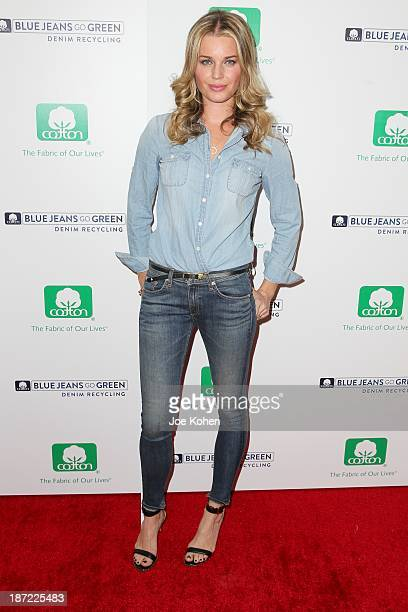 Actress Rebecca Romijn attends Blue Jeans go green celebrates 1 Million pieces of denim collected for recycling hosted by Miles Teller at SkyBar at...