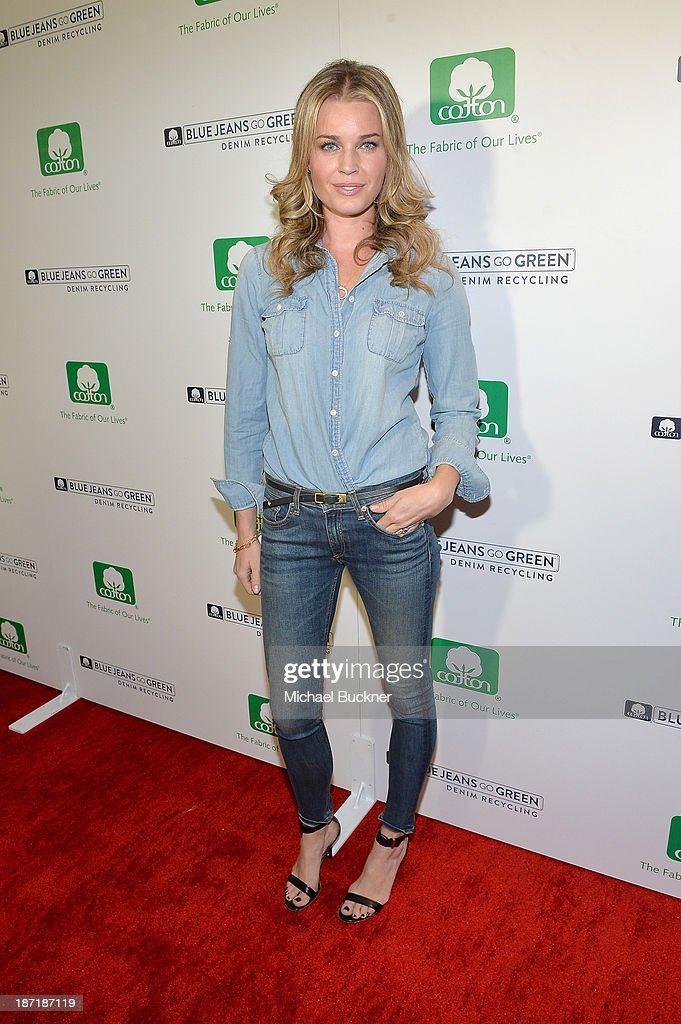 Actress Rebecca Romijn attends Cotton Incorporated's Blue Jeans Go Green celebrates 1 million pieces of denim collected for recycling at SkyBar at...