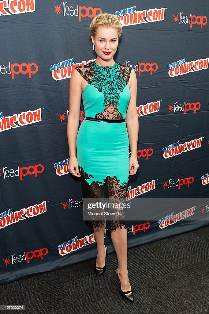 Actress Rebecca Romijn attends TNT Network's 'The Librarians' press room during 2014 New York Comic Con Day 2 at Jacob Javitz Center on October 10...