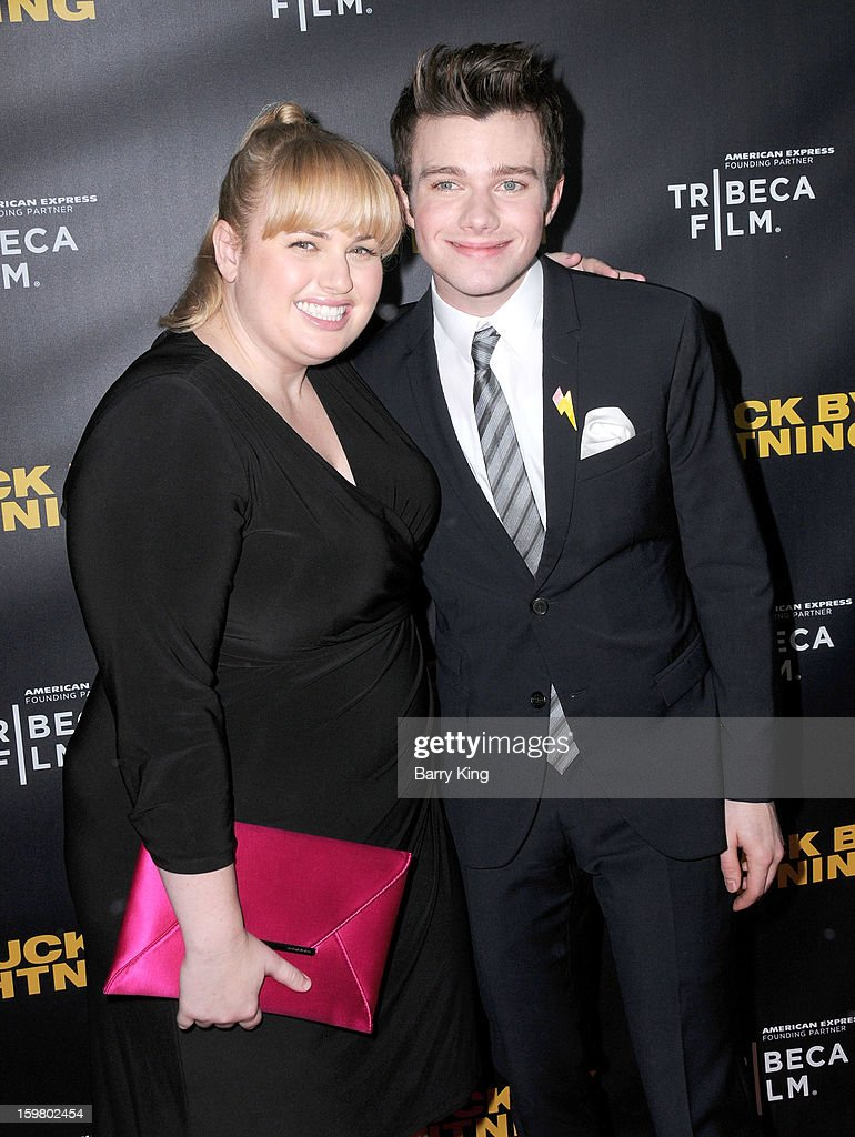 Actress <a gi-track='captionPersonalityLinkClicked' href=/galleries/search?phrase=Rebel+Wilson&family=editorial&specificpeople=5563104 ng-click='$event.stopPropagation()'>Rebel Wilson</a> (L) and actor <a gi-track='captionPersonalityLinkClicked' href=/galleries/search?phrase=Chris+Colfer&family=editorial&specificpeople=5662110 ng-click='$event.stopPropagation()'>Chris Colfer</a> attend the 'Struck By Lightning' premiere at Mann Chinese 6 on January 6, 2013 in Los Angeles, California.