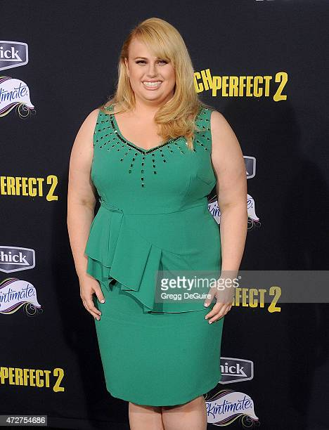 Actress Rebel Wilson arrives at the Los Angeles premiere of 'Pitch Perfect 2' at Nokia Theatre LA Live on May 8 2015 in Los Angeles California
