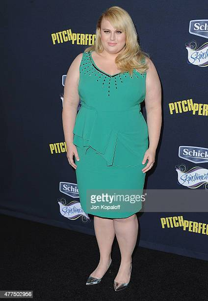 Actress Rebel Wilson arrives at the Los Angeles Premiere 'Pitch Perfect 2' at Nokia Theatre LA Live on May 8 2015 in Los Angeles California