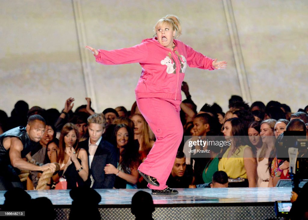Actress Rebel Wilson performs onstage during the 2013 MTV Movie Awards at Sony Pictures Studios on April 14, 2013 in Culver City, California.