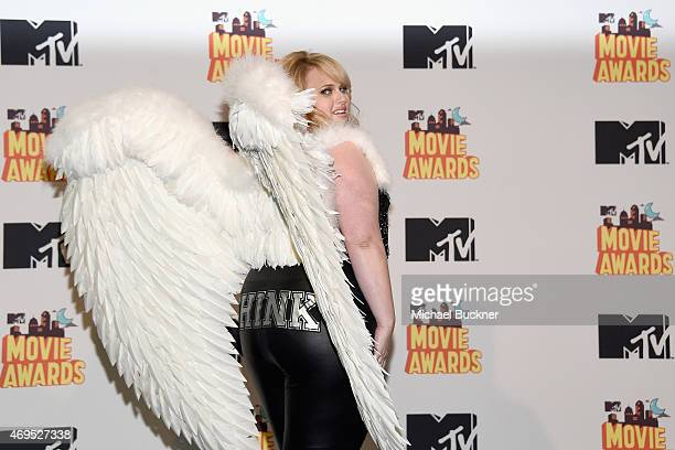 Actress Rebel Wilson poses in the press room during The 2015 MTV Movie Awards at Nokia Theatre LA Live on April 12 2015 in Los Angeles California
