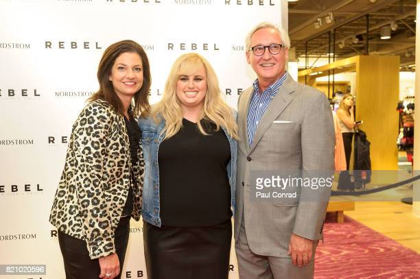 Actress Rebel Wilson with Nordstrom Store Manager Adrienne Hixon and Nordstrom Senior Vice President and Northwest Regional Manager Greg Holland at...