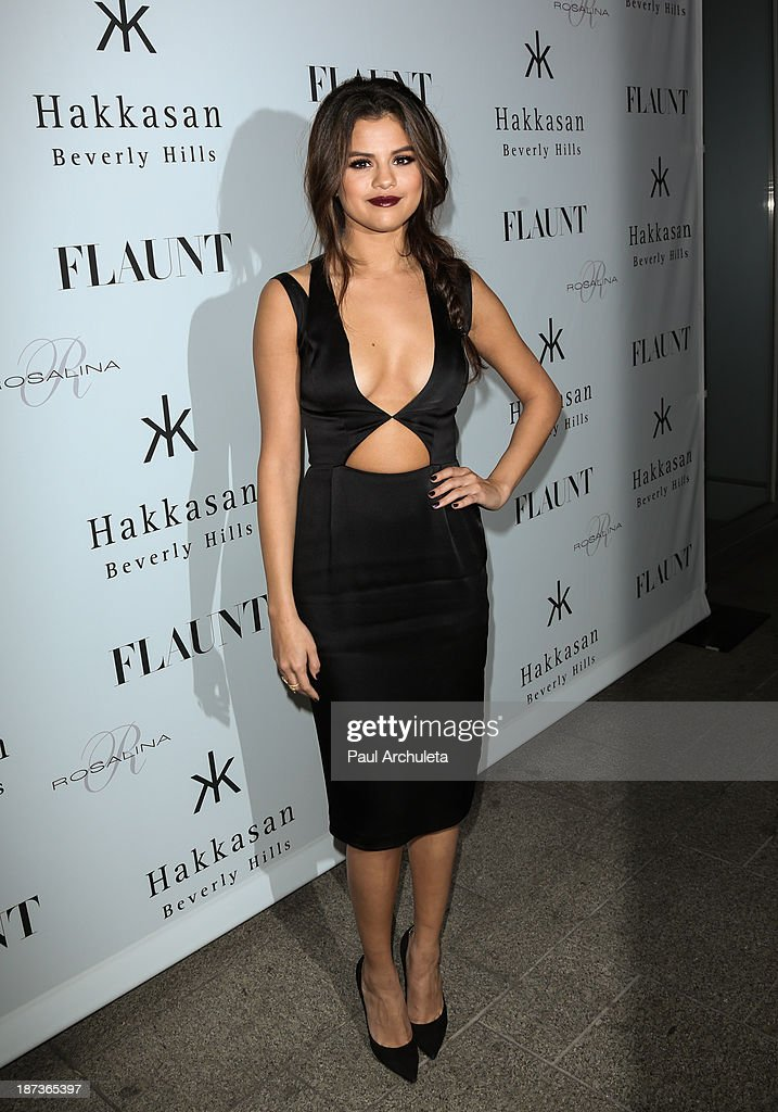 Actress / Recording Artist <a gi-track='captionPersonalityLinkClicked' href=/galleries/search?phrase=Selena+Gomez&family=editorial&specificpeople=4295969 ng-click='$event.stopPropagation()'>Selena Gomez</a> attends Flaunt magazine En Garde! issue launch party on November 7, 2013 in Beverly Hills, California.