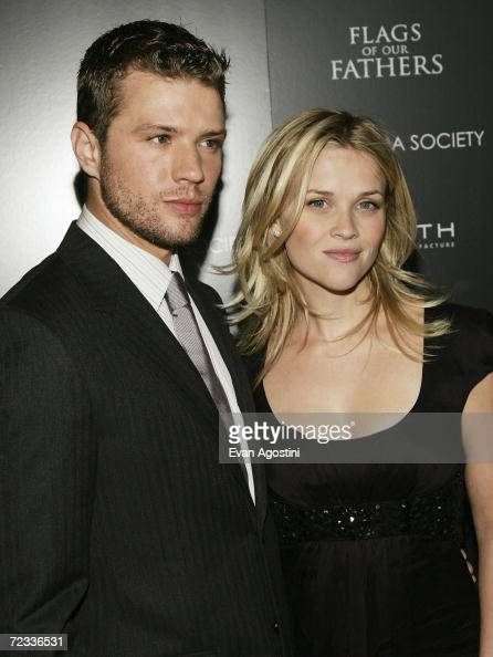 Actress Reese Witherspoon accompanies husband actor Ryan Phillippe to The Cinema Society Zenith Watches screening of 'Flags Of Our Fathers' at the...