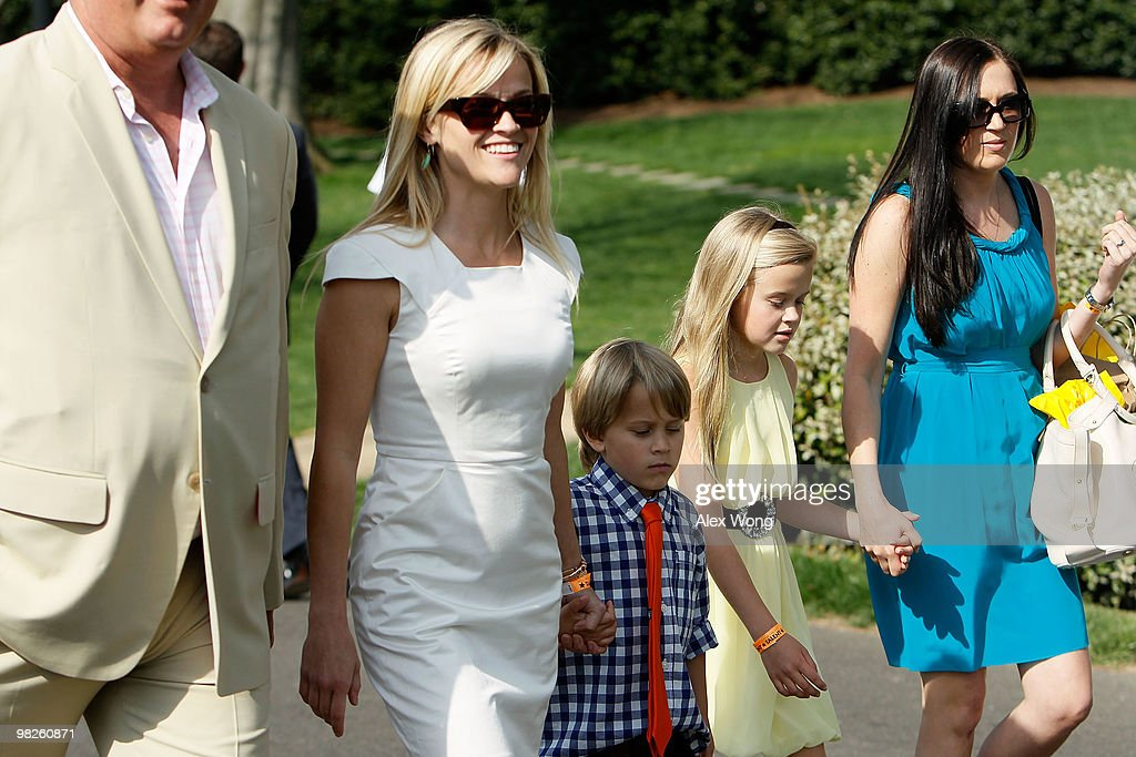 Actress Reese Witherspoon and her children Deacon Reese Phillippe and Ava Elizabeth Phillippe attend the annual White House Easter Egg Roll at the...