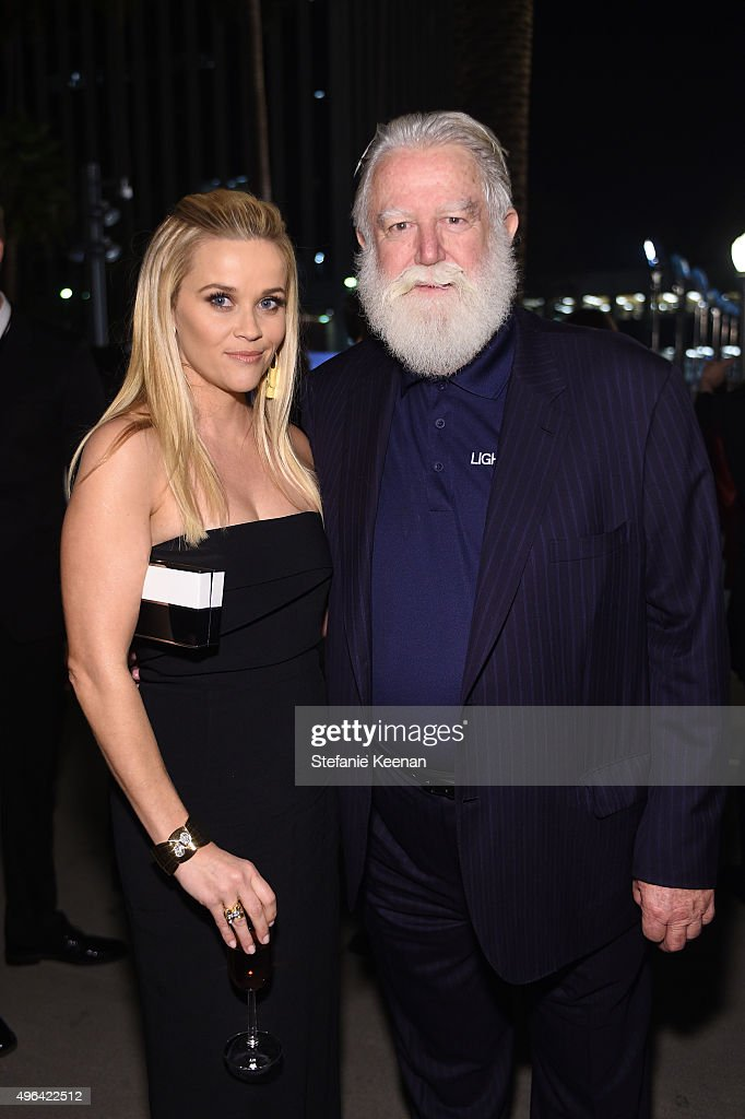 Actress Reese Witherspoon and honoree James Turrell attend LACMA 2015 ArtFilm Gala Honoring James Turrell and Alejandro G Iñárritu Presented by Gucci...