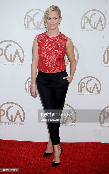 Actress Reese Witherspoon arrives at the 26th Annual Producers Guild Of America Awards at the Hyatt Regency Century Plaza on January 24 2015 in Los...