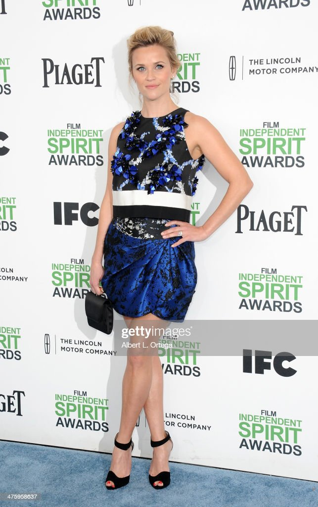 Actress <a gi-track='captionPersonalityLinkClicked' href=/galleries/search?phrase=Reese+Witherspoon&family=editorial&specificpeople=201577 ng-click='$event.stopPropagation()'>Reese Witherspoon</a> arrives for the 2014 Film Independent Spirit Awards held at the beach on March 1, 2014 in Santa Monica, California.