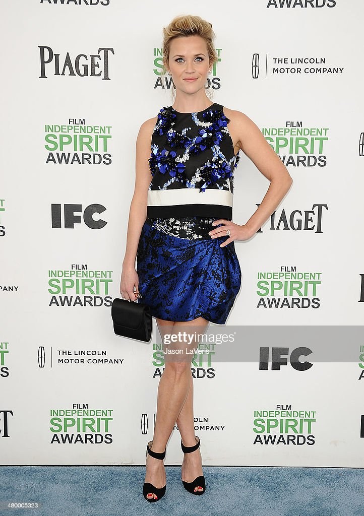 Actress <a gi-track='captionPersonalityLinkClicked' href=/galleries/search?phrase=Reese+Witherspoon&family=editorial&specificpeople=201577 ng-click='$event.stopPropagation()'>Reese Witherspoon</a> attends the 2014 Film Independent Spirit Awards on March 1, 2014 in Santa Monica, California.