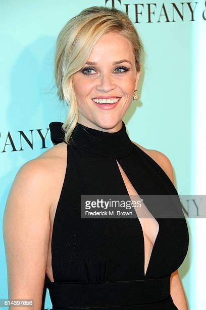 Actress Reese Witherspoon celebrates the unveiling of the renovated Tiffinay Co Beverly Hills store at Tiffany Co on October 13 2016 in Beverly Hills...