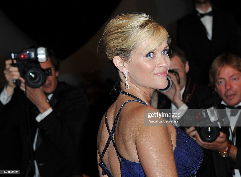 Actress <a gi-track='captionPersonalityLinkClicked' href=/galleries/search?phrase=Reese+Witherspoon&family=editorial&specificpeople=201577 ng-click='$event.stopPropagation()'>Reese Witherspoon</a> departs the 'Mud' Premiere during the 65th Annual Cannes Film Festival at Palais des Festivals on May 26, 2012 in Cannes, France.