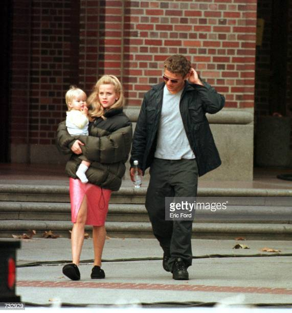 Actress Reese Witherspoon Is visited by her husband Ryan Phillippe and their child on the set of 'Legally Blonde' October 21 2000 in Los Angeles CA