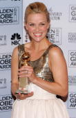 Actress Reese Witherspoon poses backstage with her award for Best Actress Musical or Comedy for 'Walk The Line' during the 63rd Annual Golden Globe...