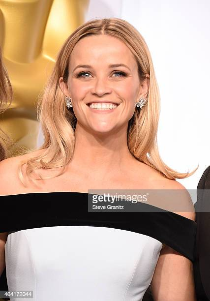 Actress Reese Witherspoon poses in the press room during the 87th Annual Academy Awards at Loews Hollywood Hotel on February 22 2015 in Hollywood...