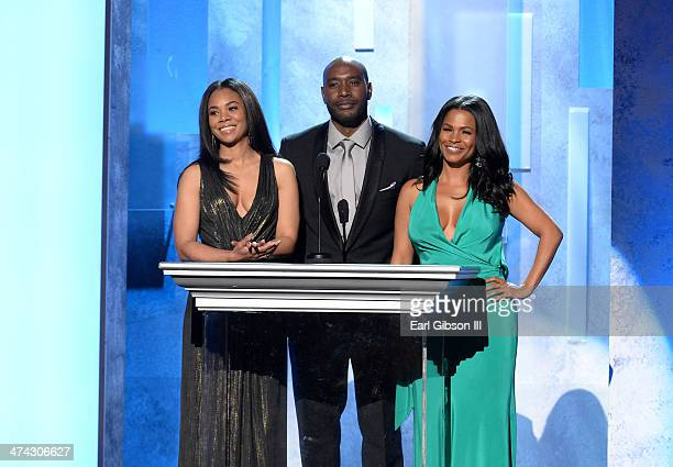 Actress Regina Hall actor Morris Chestnut and actress Nia Long speak onstage during the 45th NAACP Image Awards at Pasadena Civic Auditorium on...