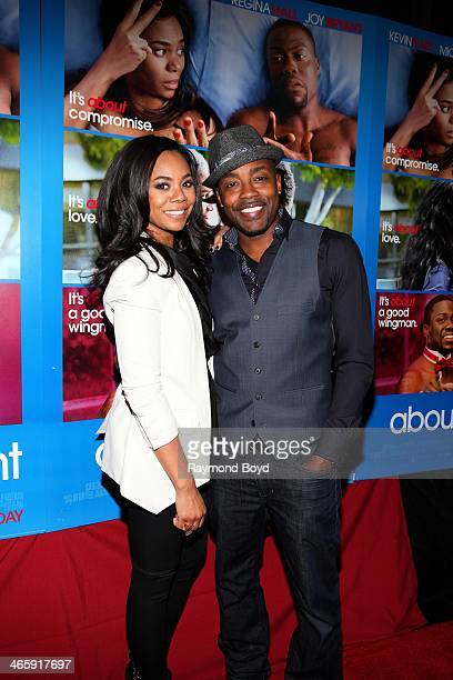 Actress Regina Hall and movie producer Will Packer poses for photos on the red carpet prior to a special screening of their film 'About Last Night'...