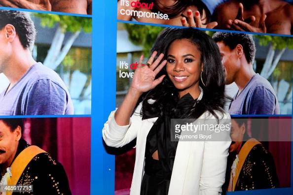 Actress Regina Hall poses for photos on the red carpet prior to a special screening of her film 'About Last Night' at the Showplace ICON Theatres in...