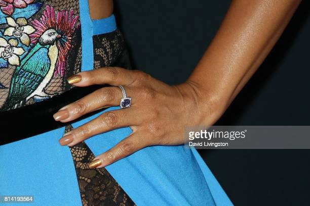 Actress Regina Hall ring detail attends the premiere of Universal Pictures' 'Girls Trip' at Regal LA Live Stadium 14 on July 13 2017 in Los Angeles...