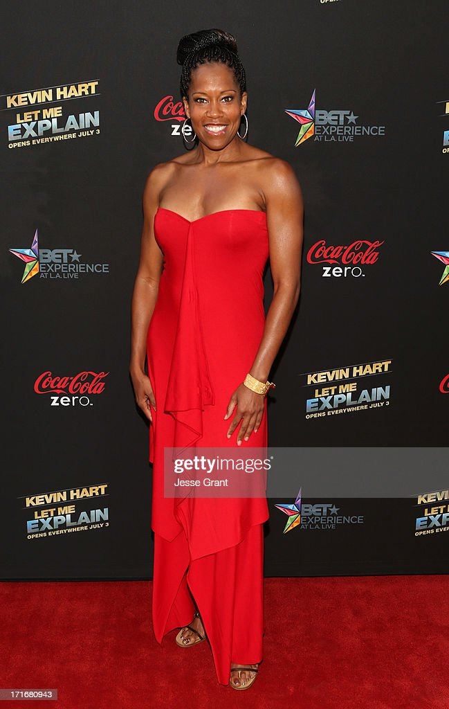 Actress <a gi-track='captionPersonalityLinkClicked' href=/galleries/search?phrase=Regina+King&family=editorial&specificpeople=202510 ng-click='$event.stopPropagation()'>Regina King</a> attends Movie Premiere 'Let Me Explain' with Kevin Hart during the 2013 BET Experience at Regal Cinemas L.A. Live on June 27, 2013 in Los Angeles, California.