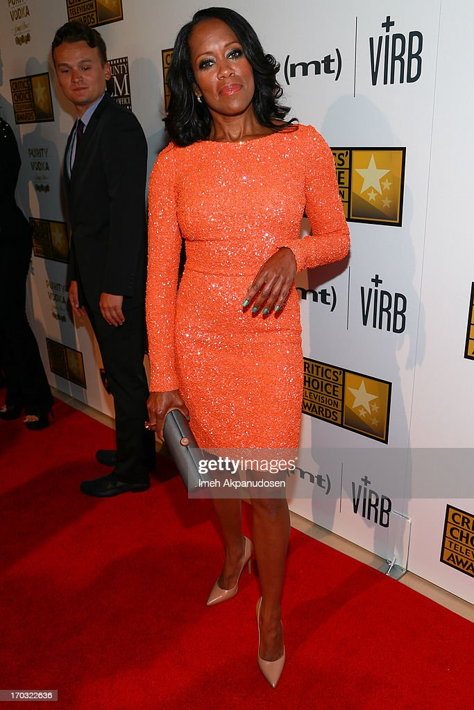Actress <a gi-track='captionPersonalityLinkClicked' href=/galleries/search?phrase=Regina+King&family=editorial&specificpeople=202510 ng-click='$event.stopPropagation()'>Regina King</a> attends the Critics' Choice Television Awards at The Beverly Hilton Hotel on June 10, 2013 in Beverly Hills, California.