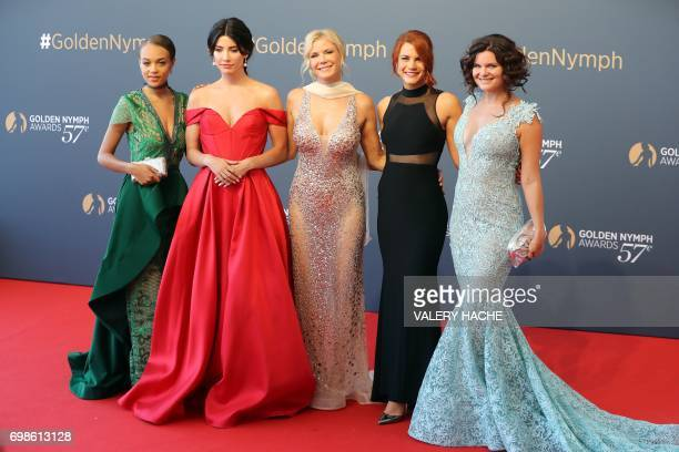 US actress Reign Edwards Canadian actress Jacqueline MacInnes Wood British actress Catherine Kelly US actresses Courtney Hope and Heather Tom pose...