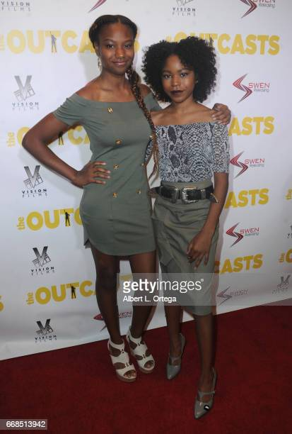 Actress Reiya Downs and Riele Downs arrive for the Premiere Of Swen Group's 'The Outcasts' held at Landmark Regent on April 13 2017 in Los Angeles...