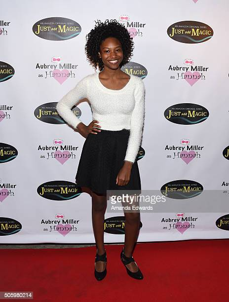 Actress Reiya Downs arrives at a private screening of Amazon's 'Just Add Magic' at the Chaplin Theater at Raleigh Studios on January 20 2016 in...