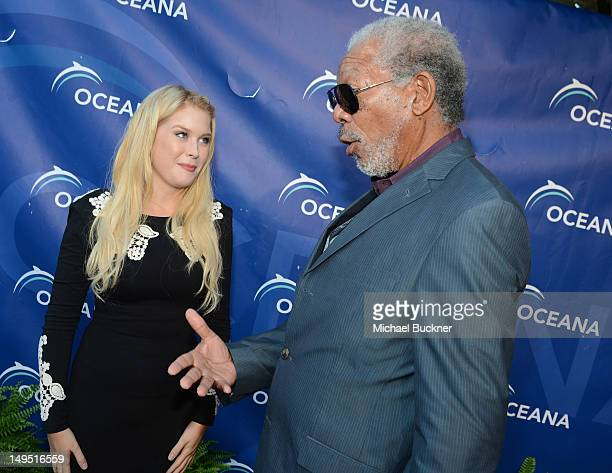 Actress Renee Olstead and actor Morgan Freeman arrive at the 2012 Oceana's SeaChange Party at a private residence on July 29 2012 in Laguna Beach...