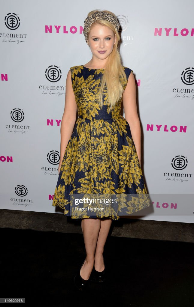 Actress Renee Olstead arrives at NYLON Magazine August Issue Launch Party hosted by Ashley Greene at Blok on July 31, 2012 in Hollywood, California.