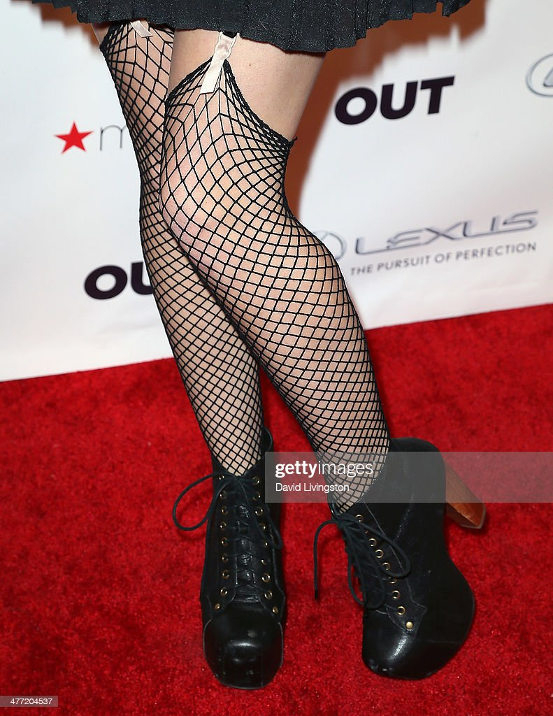 Actress Renee Olstead (shoe & stocking detail) attends Out Magazine's Rock OUT event to kick off Los Angeles Fashion Week at Siren Studios on March 7, 2014 in Hollywood, California.