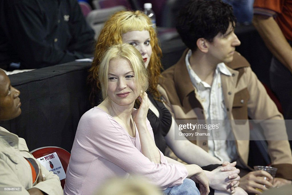 Actress Renee Zellweger attends attends game three of the 2004 NBA Finals between the Detroit Pistons and the Los Angeles Lakers June 10, 2004 at the Palace of Auburn Hills in Auburn Hills, Michigan.