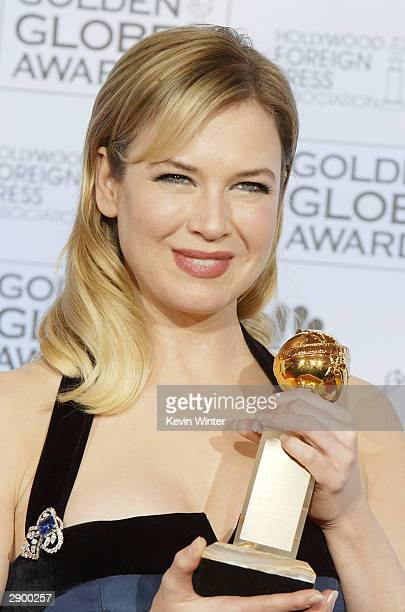 Actress Renee Zellweger poses backstage at the 61st Annual Golden Globe Awards at the Beverly Hilton Hotel on January 25 2004 in Beverly Hills...