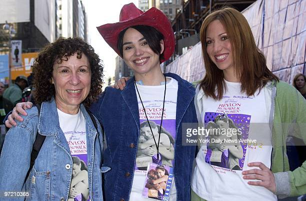 Actress Rhea Perlman actress Karen Duffy and singer Deborah Gibson get together for the Fifth Annual Revlon Run/Walk for Women in Times Square this...