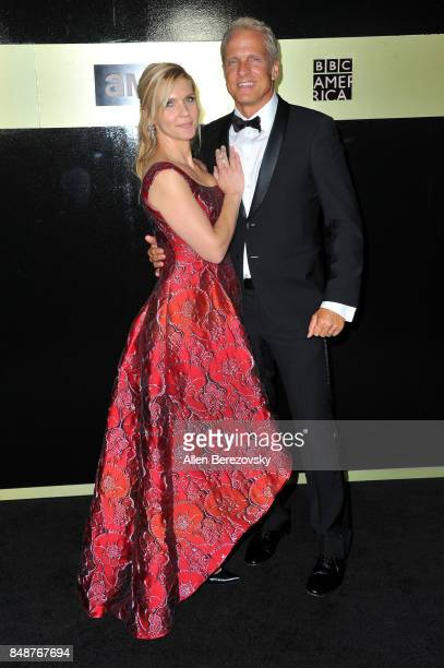 Actress Rhea Seehorn and actor Patrick Fabian attend AMC Networks 69th Primetime Emmy Awards AfterParty celebration at BOA Steakhouse on September 17...