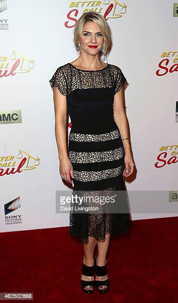 Actress Rhea Seehorn attends the series premiere of AMC's 'Better Call Saul' at Regal Cinemas LA Live on January 29 2015 in Los Angeles California