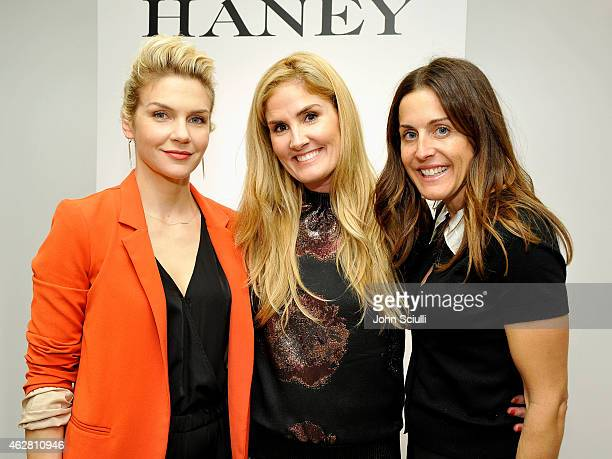 Actress Rhea Seehorn Designer Mary Alice Haney and Benton Weinstock attend the Mary Alice Haney private event at Saks Fifth Avenue Beverly Hills on...