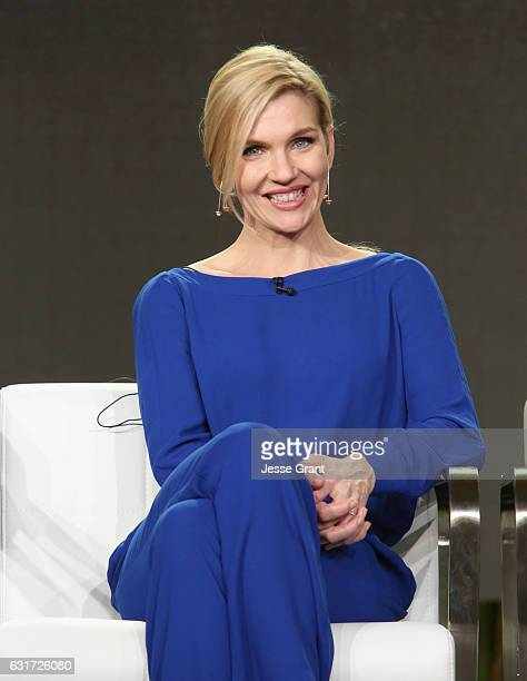Actress Rhea Seehorn speaks onstage during the AMC presentation of The SON HUMANS Season 2 Better Call Saul Season 3 on January 14 2017 in Pasadena...