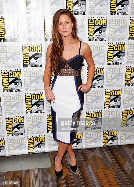 Actress Rhona Mitra attends 'The Last Ship' press room during TNT at ComicCon International San Diego 2015 on July 9 2015 in San Diego California...
