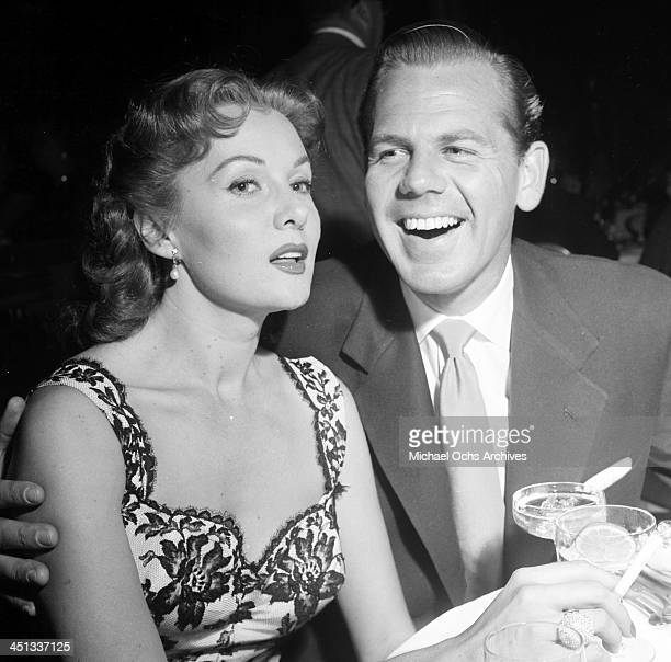 Actress Rhonda Fleming and husband Dr Lewis Morrell attend a party at Coconut Grove in Los Angeles California