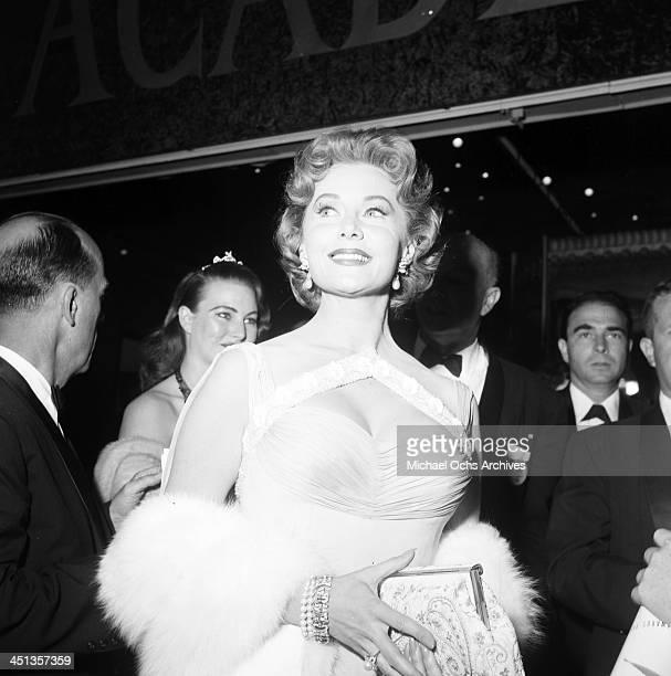Actress Rhonda Fleming pose at a party in Los Angeles California
